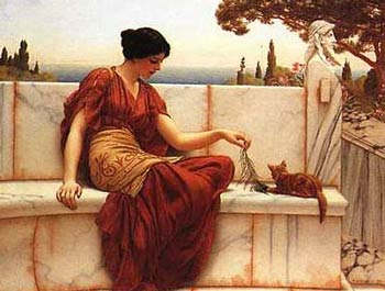 "Alma-Tadema - ""Girl with Cat"""